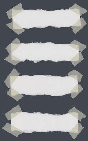 Set of various torn note papers with adhesive, sticky tape on dark gray background.