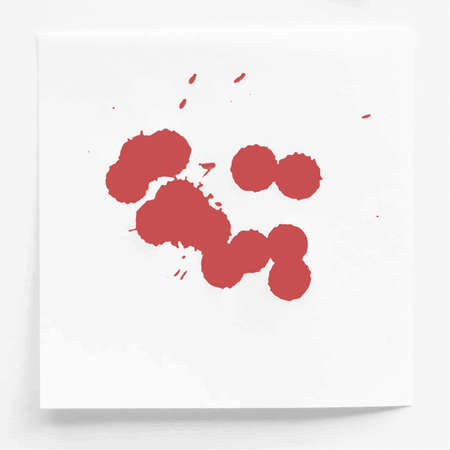 note paper: Red ink watercolor splahs, blots on white note paper
