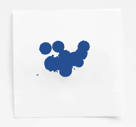 note paper: Blue ink watercolor splahs, blots on white note paper