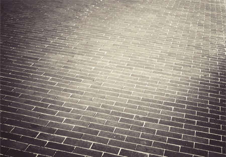 brick road: Light brown brick stone street road. Sidewalk, pavement texture Illustration