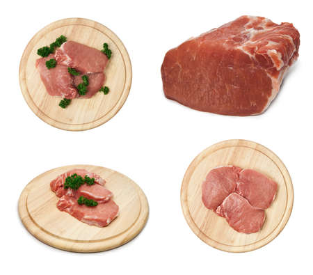 circular muscle: Set of fresh raw pork steak meat on wooden cutting board
