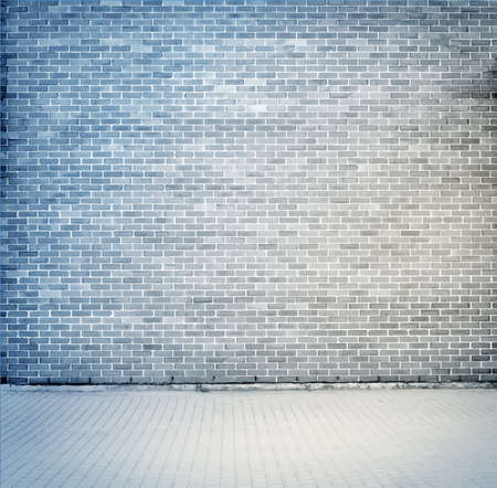 Blue, grey brick wall texture with sidewalk. Vector illustration Ilustracja