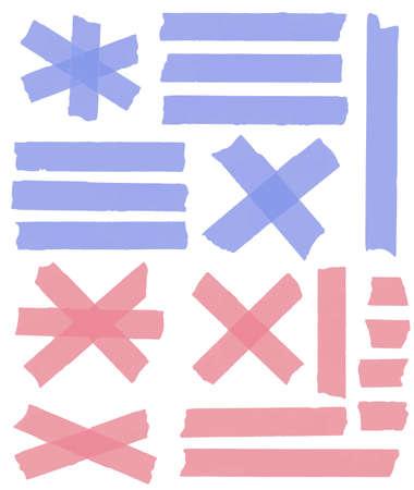 Satz von horizontalen und unterschiedliche Größe Klebeband, Klebestücke, zerrissenes Papier auf weißem Hintergrund. Vektor-Illustration