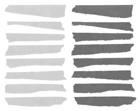sticky tape: Ajuste del tama�o de la cinta horizontal y diferente pegajosa, piezas adhesivas, papel rasgado en el fondo blanco. Ilustraci�n vectorial