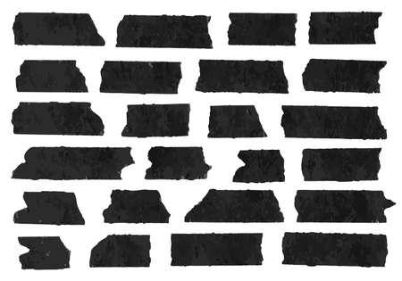 水平方向と異なるサイズの黒い粘着テープ、接着部分、白い背景の上の破れた紙のセットです。 テキスト、アルファベット、その他記号を書くこと