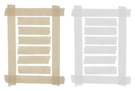 Set of horizontal sticky tape,adhesive pieces, torn paper in the frame on white background. Can write text, alphabet letters and other symbols. Vector illustration