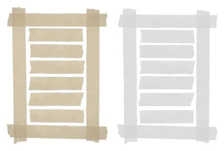 Set van horizontale plakband, lijm stukken gescheurd papier in het frame op een witte achtergrond. Kan schrijven tekst, alfabet letters en andere symbolen. Vector illustratie Stock Illustratie