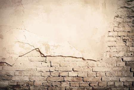 Grunge brown old plaster, brick wall texture. Vector illustration