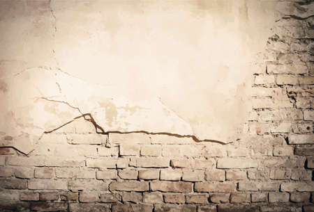 Grunge brown old plaster, brick wall texture. Vector illustration