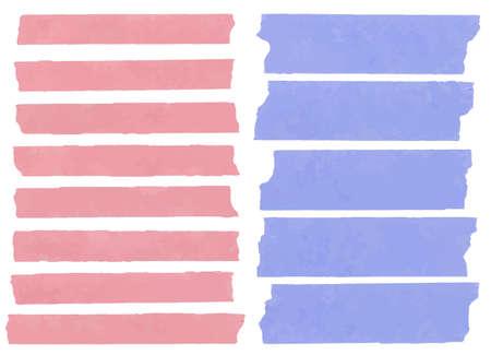 水平方向と異なるサイズの粘着テープ、接着剤の部分、白い背景の破れた紙のセットです。アルファベットの文字その他の記号を書くことができま