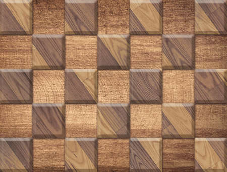 Brown wooden texture, pattern from square parquet shapes, floor or wall background photo