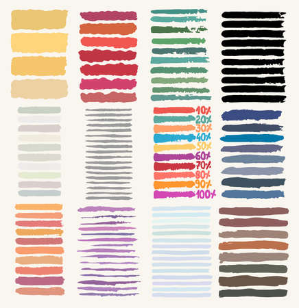 Set of colorful hand drawn brush strokes