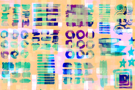 abstract pattern: Pattern of colorful abstract geometric shapes, watercolor brush strokes and circle