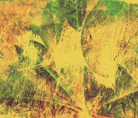 autumn leafs: Yellow, green grunge collage autumn leafs background Stock Photo