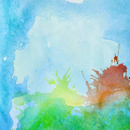other space: Colorful abstract painted watercolor water, sea or other blue fluid, with different colors splashes. Copy space