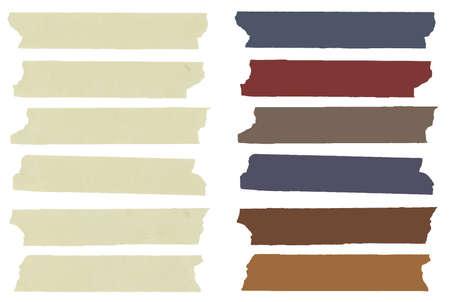 Set van kleurrijke horizontale en verschillende grootte plakband, lijm stukken, menu sjabloon met kopie ruimte op een witte achtergrond. Vector
