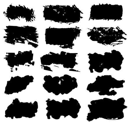 dry brush: Grunge rectangle watercolor brush strokes on white background. Vector illustration