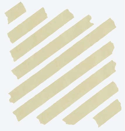 cintas: Ajuste del tamaño de la cinta adhesiva en diagonal y diferente, piezas adhesivas en el fondo blanco. Vectores