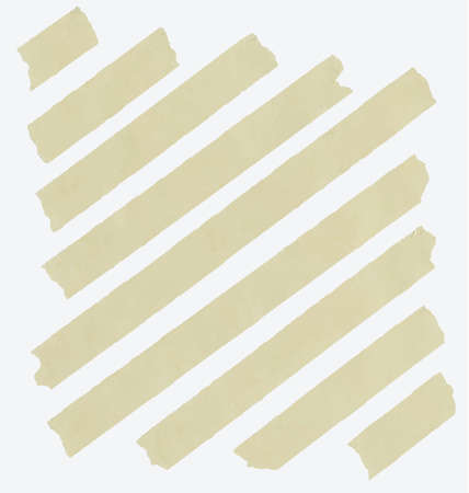 Set of diagonal and different size sticky tape,adhesive pieces on white background.
