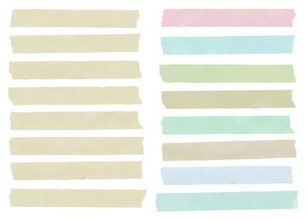 화려한 수평 및 다른 크기의 스티커 테이프, 접착제 조각, 흰색 배경에 복사본 공간 메뉴 템플릿 집합입니다. 벡터