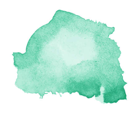 bright paintings: Light green watercolor stain splash, splatter. Hand painted vector illustration.