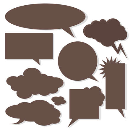 white clouds: Vector speech bubbles with shadow like clouds on white background. Illustration