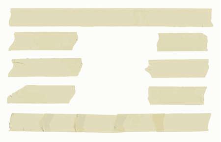 Satz von horizontalen und unterschiedliche Größe klebrigen Typ, Klebe Stücke auf weißem Hintergrund