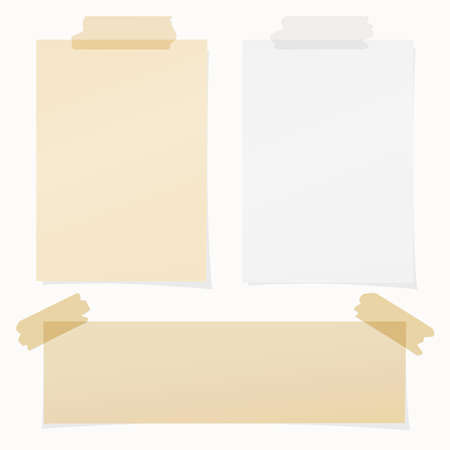 Set of various beige , gray note papers on white background. Ilustracja
