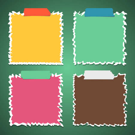 Set of torn crumpled colorful note paper with adhesive, sticky tape on green background.