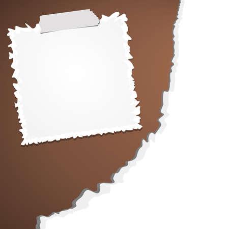 sticky tape: Papel rasgado arrugado blanco con adhesivo, cinta adhesiva sobre fondo marr�n.