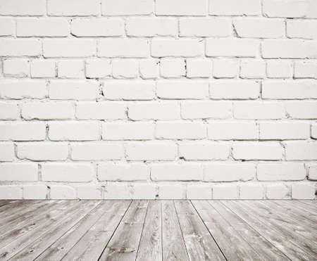 ladrillo: Textura blanca de la pared de ladrillo con piso de madera.