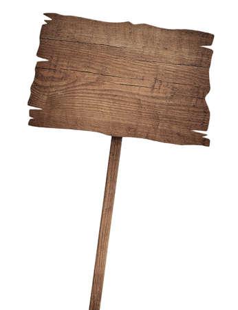 signos de precaucion: Old degradado cartel de madera aislado en blanco