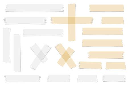 cintas: Conjunto de aceptar o sí, cruz y diferentes adhesivos tamaño trozos de cinta sobre fondo blanco.