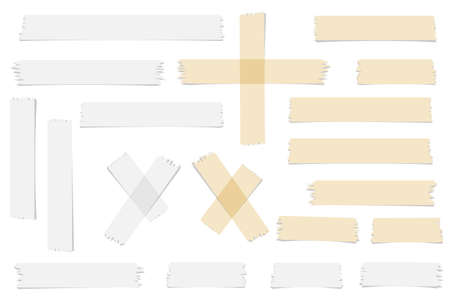 brown white: Set of accept or yes, cross and different size adhesive tape pieces on white background.