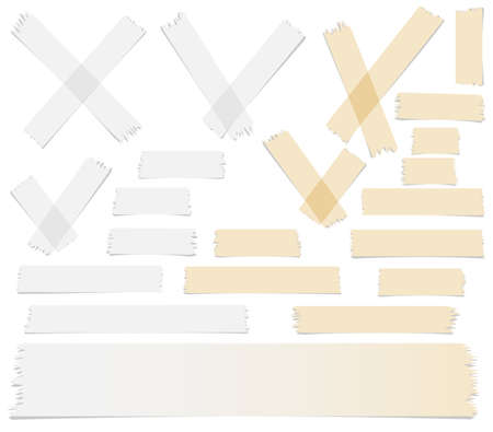 수락 또는 예, 크로스 및 다른 크기의 집합 접착 테이프 흰색 배경에 조각.