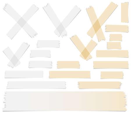 Set van accepteren of ja, kruis en verschillende grootte plakband stukken op witte achtergrond.