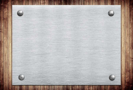 steel texture: Metal sign, name plate on wooden wall planks.