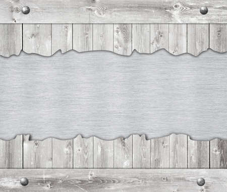 aluminum plate: Composition of metal aluminum plaque, name plate and wooden wall planks.