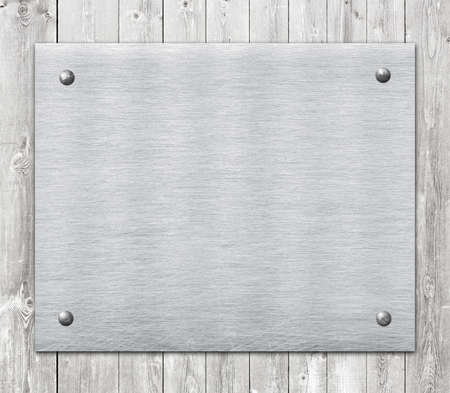 name: Composition of metal aluminum plaque, name plate on wooden wall planks.