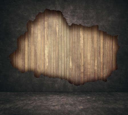pared rota: grunge negro quebró el muro de hormigón y tablones de madera con la calzada.