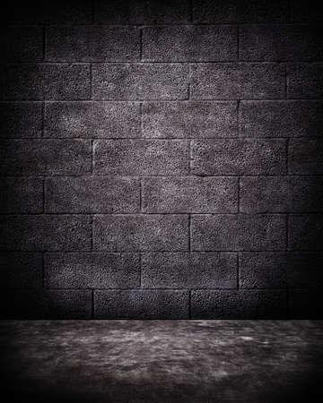 blocchi di calcestruzzo alle intemperie, texture muro di mattoni con il passaggio pedonale.