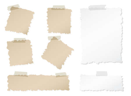 sticky tape: Set of various torn note papers with adhesive, sticky tape on white background.