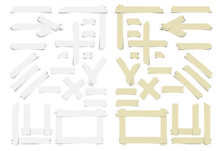 scotch: Set of accept or yes sumbol, cross and different size adhesive sticky tape pieces on white background. Illustration