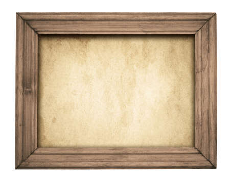 pictures: Vintage brown wooden frame on old paper.