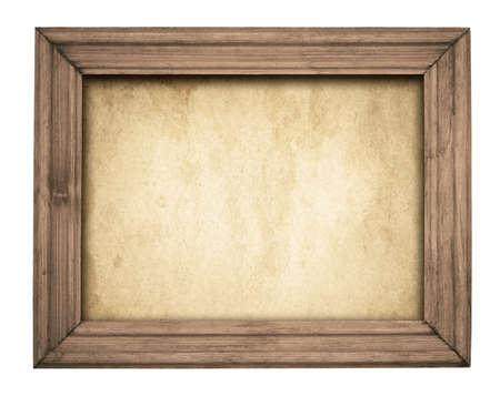 Vintage brown wooden frame on old paper.