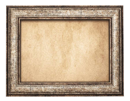 Vintage brown wooden frame on old paper.