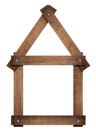 wooden boards: Wooden house home icon screwed frame is solated on white background.