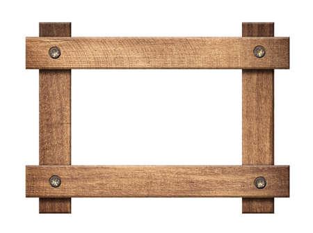 Composition of dark wooden planks screwed frame isolated on white background Standard-Bild