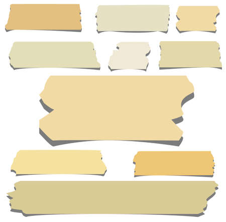 Set of horizontal and different size sticky tape,adhesive pieces on white background Ilustracja