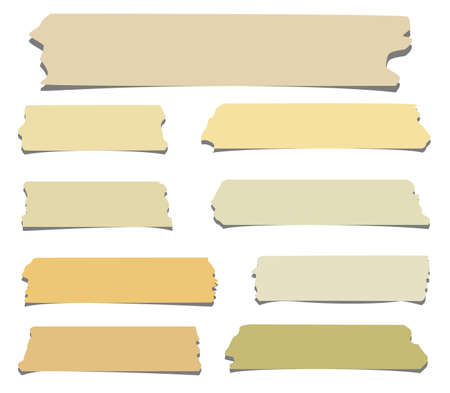 sticky tape: Set of horizontal and different size sticky tape,adhesive pieces on white background Illustration